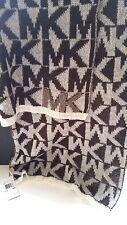 New MICHAEL KORS MK Logo Soft WINTER SCARF Brown White Wool ACRYLIC Blend