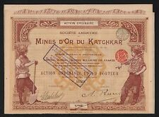 TOP DECO =  titre 1 action: Mines d'OR du KATCHKAR (ARMENIE 1897) (C)