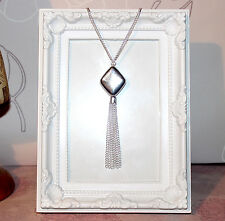 Flapper/Gatsby/1920's Long necklace with silver diamond shaped pendant & tassel