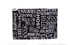 Black White Scary Pumpkin Halloween Cat Vinyl Tablecloth Table Cloth 52 x 70 NEW
