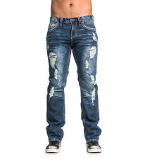 New Affliction $120 Blk Premium Blake Bayside Fleur Flap Relaxed Ripped Jeans 36