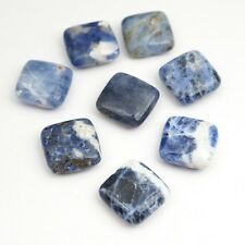 8 flat square opaque blue and white sodalite beads semiprecious stone 14mm