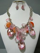Chunky Pink Tear Drop Clear Crystal Silver Chain Bib Charm Necklace Earrings SET