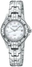 SEIKO WHITE MOP DIAL DATE 11 DIAMONDS STAINLESS STEEL WOMEN'S WATCH SXDA31 NEW