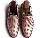 Mens Shoes Rose Gold Loafers Spike Studded Slip On Pumps Leather Flat Size 37-47