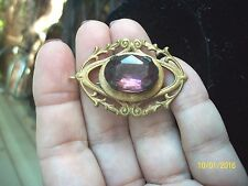 VICTORIAN EDWARDIAN BRASS PENDANT & BROOCH WITH OVAL AMETHYST COLOR STONE