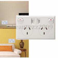 Twin USB Australian AU Dual 2 Switch Wall Socket Home Power Point Supply Plate