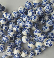 20 x Hand Printed Round Dark Blue Porcelain Ceramic Beads 12mm Floral Style P25