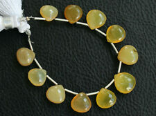 Natural Yellow Opal Faceted Heart Briolette Semi Precious Gemstone Beads 008