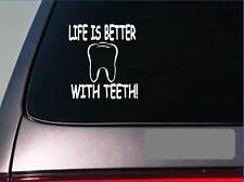 "Life is better with teeth *F404* 6"" sticker decal dentist dental hygienist brush"