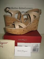 $595 NEW Salvatore Ferragamo US 9.5 Persy Nude Leather Cork Wedge Sandals Shoes