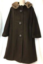 Vtg Art Deco 30s 40s 50s 60s Swing Wool Coat Long Trench Mink Fur Collar Women's