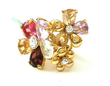 18K Gold Plated High Quality Crystal Floral Ring Size 6