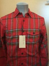 Burberry Brit Plaid Red Flannel Shirt Size Small NWT $295