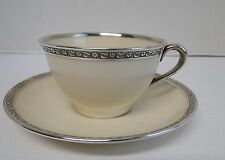 Lenox China STERLING SILVER Overlay Tea Cup & Saucer c. 1915 Vintage