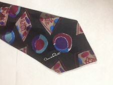 Mens Black Brown Red Tie Necktie OSCAR DE LA RENTA~ FREE US SHIP (12463)