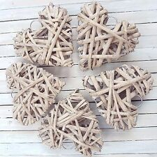 PACK OF 5 MEDIUM NATURAL WICKER WILLOW HEARTS WEDDING VENUE OR HEART DECORATION