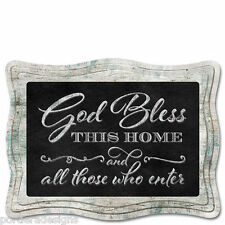 Framed Wooden Chalkboard Sign Wall Plaque God Bless This Home & Those Who Enter