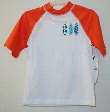 Brand New ~ J.Khaki White / Orange Surf Boards Rash Guard  Boy's 3T UPF 50+
