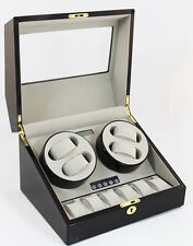 4+6 Watch Winder BLACK WOOD Finish Grey Velvet LCD Digital Japan Motor Box 8036