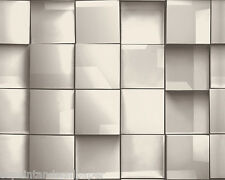 Feature Wallpaper 3D Square Geometric Funky Modern Retro Mirror Effect White