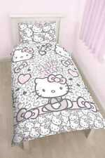 "Official Hello Kitty Leopard ""Reversible"" Single Duvet Cover Bedding Set bed"