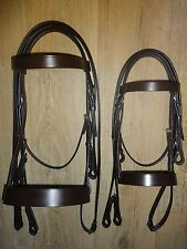 QUALITY LEATHER HUNTER CAVESSON BRIDLE WIDE NOSEBAND BLACK and HAVANA