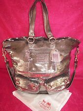 Coach Sequin Spotlite Poppy Handbag JUMBO Tote Purse Pewter TO DIE FOR BLING!