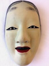 ANTIQUE Noh mask Ko-Omote  wooden noh kyougen kagura demon bugaku Japan #2 F/S