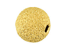 9ct Yellow Gold Laser Cut Frost Sparkle Bead 5mm - 2 Hole - Findings Jewellery