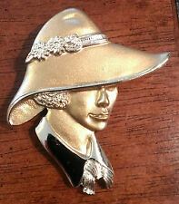 VINTAGE BEAUTIFUL SIGNED TORINO GOLD-TONE WOMAN LADY IN HAT BROOCH / PIN