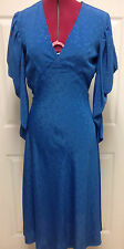 Vintage 70s 80s Low V Front Silk Blue Disco Dress Long Sleeve Batwing Size M w30