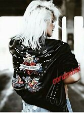 Zara Black Leather Look Bomber Punk Love Embroidered Jacket Size S Uk 8