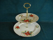 Royal Albert Poinsettia Christmas Pattern Two Tier Serving Dish with Handle