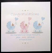 PERSONALISED HANDMADE CONGRATULATIONS BIRTH OF TRIPLETS OR TWINS CARD