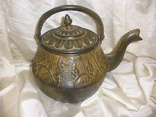 Antique Chinese Tea pot Old Copper Handwork Carved Grape / leaves Teapot