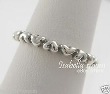 FOREVER LOVE Genuine PANDORA Sterling Silver HEARTS Stackable BAND Ring 7/54 NEW