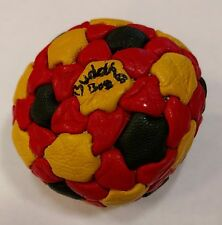BuddhaBag 82 panel Pellet-Filled hacky sack footbag RED/YELLOW/BLACK Leather