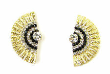 Black Gold Silver Art Deco Earrings 1920s Vintage Flapper Great Gatsby 40s 1068