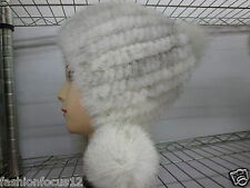 Newly Lady's  Real Three fox Fur balls Fashion knitted mink hat/white with gray