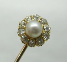 Stunning Quality Antique 18ct Gold Pearl And Diamond Stick / Tie Pin