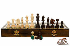 "Great ""LARGE OLYMPIC"" Wooden Hand Crafted TOURNAMENT Chess Set! 42x42 cm."
