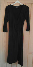 New Funmum wrap over Maternity black dress m medium size 14 3/4 sleeves v-neck