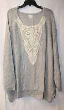 NEW WOMENS PLUS SIZE 4X 28W GRAY PULLOVER SWEATER TOP W BEAUTIFUL LACE DETAILING
