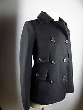ESSENTIAL BCBG MAX AZRIA BLACK VIRGIN WOOL DOUBLE BREASTED COAT JACKET XS