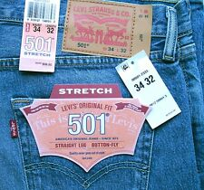 New Levi's 501 Mens Regular Fit Stretch Jeans Size 34 x 32 Light Blue Levis
