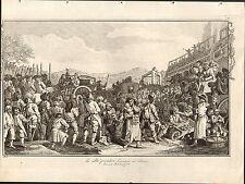 1818 grabado Hogarth georgiano ~ el aprendiz de inactividad ejecutados en Tyburn
