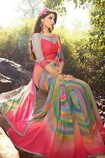 Pari Designer Multi Color Georgette Printed Designer Saree with Blouse Piece