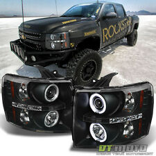 Black 2007-2013 Silverado 1500 2500 3500 CCFL HALO+LED DRL Projector Headlights