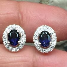 AAA Natural 1.5ct Iolite Water Sapphire 925 Solid Sterling Silver Earrings 10mm